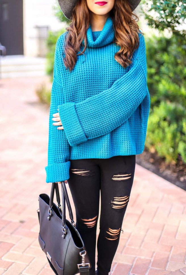 Turquoise Sweater with Denim Skinny Jeans