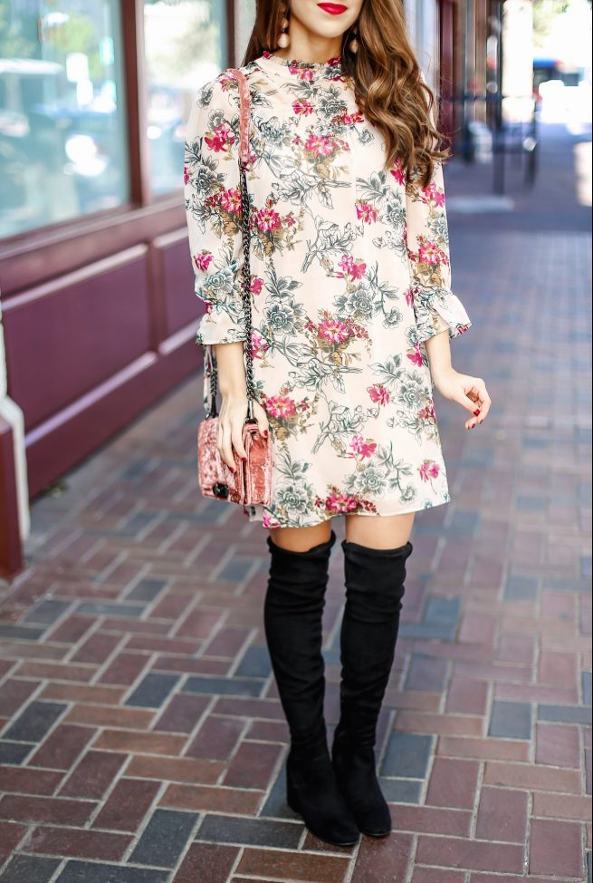 Fall Floral Dress and Over the Knee Boots