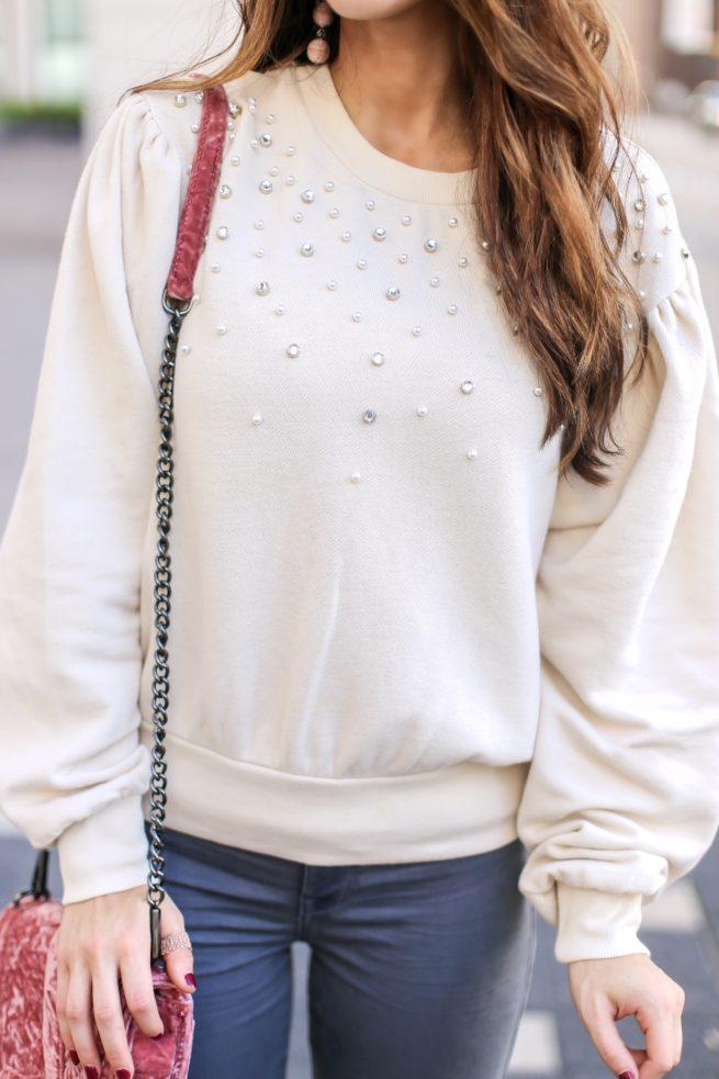 Beautiful Pearl Embellished Puff Sleeve Sweatshirt