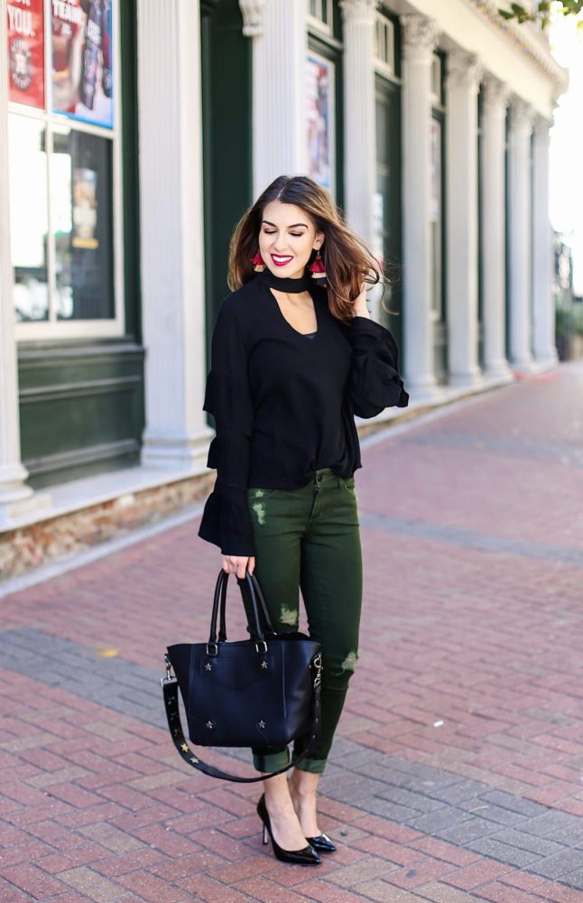 Choker Blouse and Olive Jeans