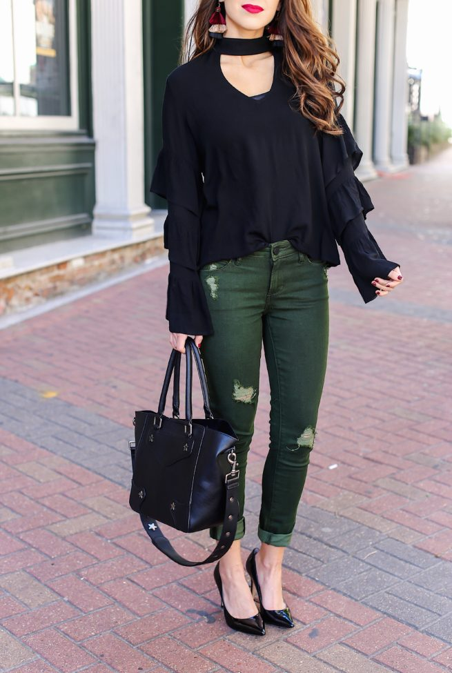 Black Ruffle Choker Top with Olive Jeans
