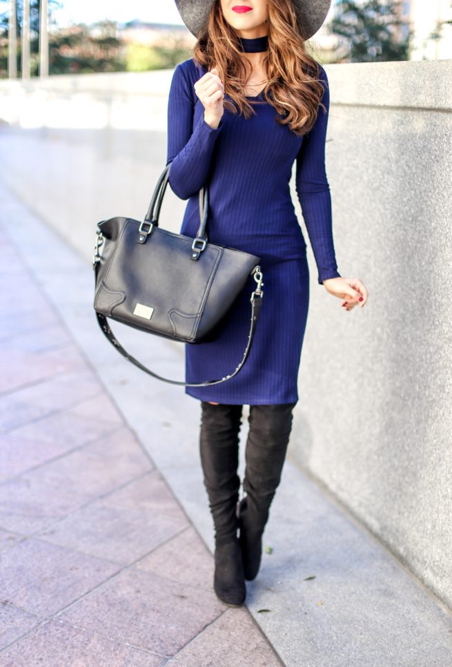 Blue Choker Dress for any Season