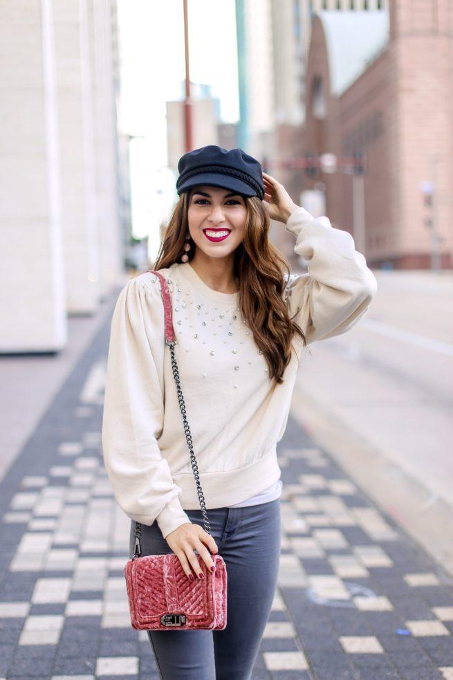 Cute Pearl Embellished Puff Sleeve Sweatshirt