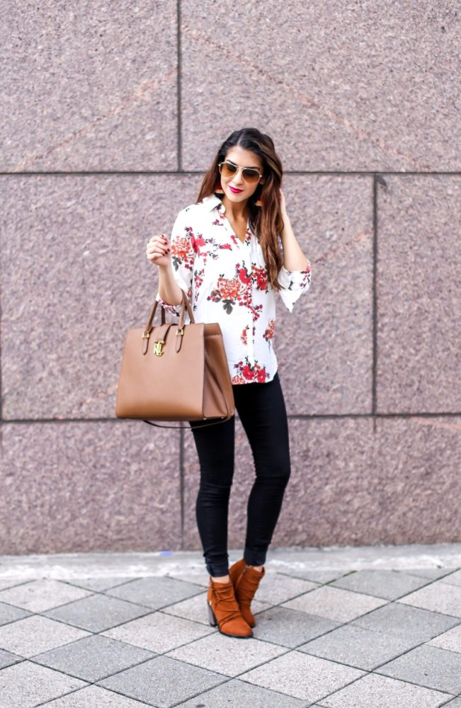 Floral Blouse and Denim Style