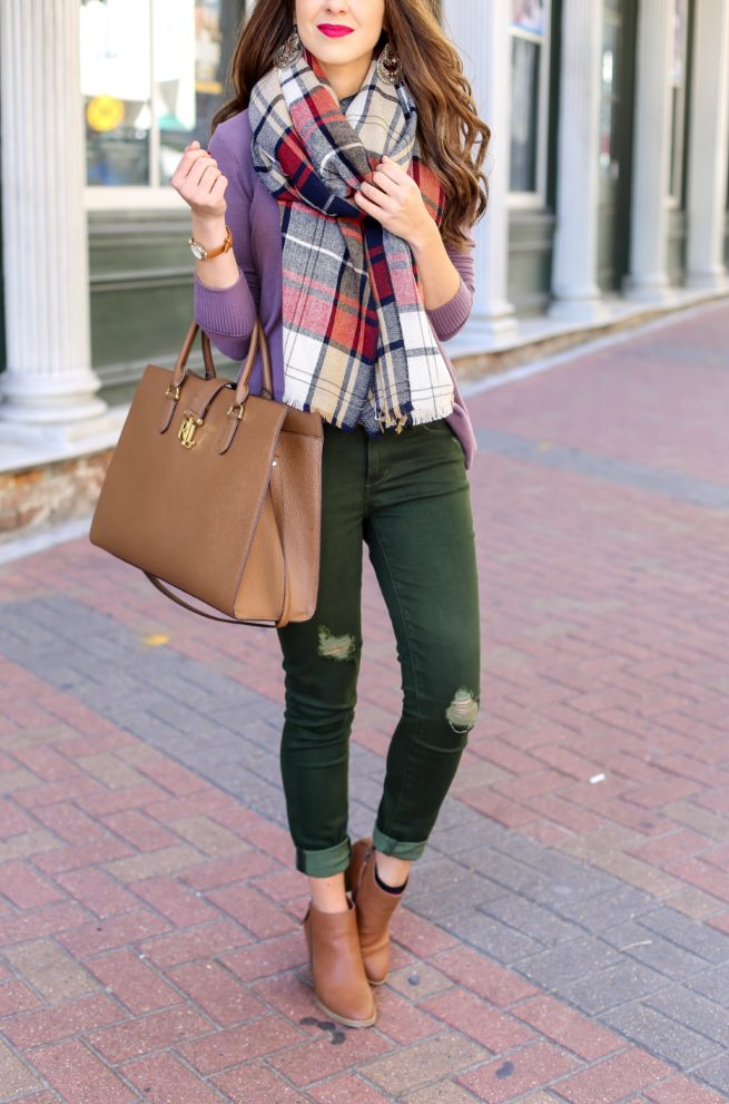 Olive Green Jeans and Sweater Fall Outfit