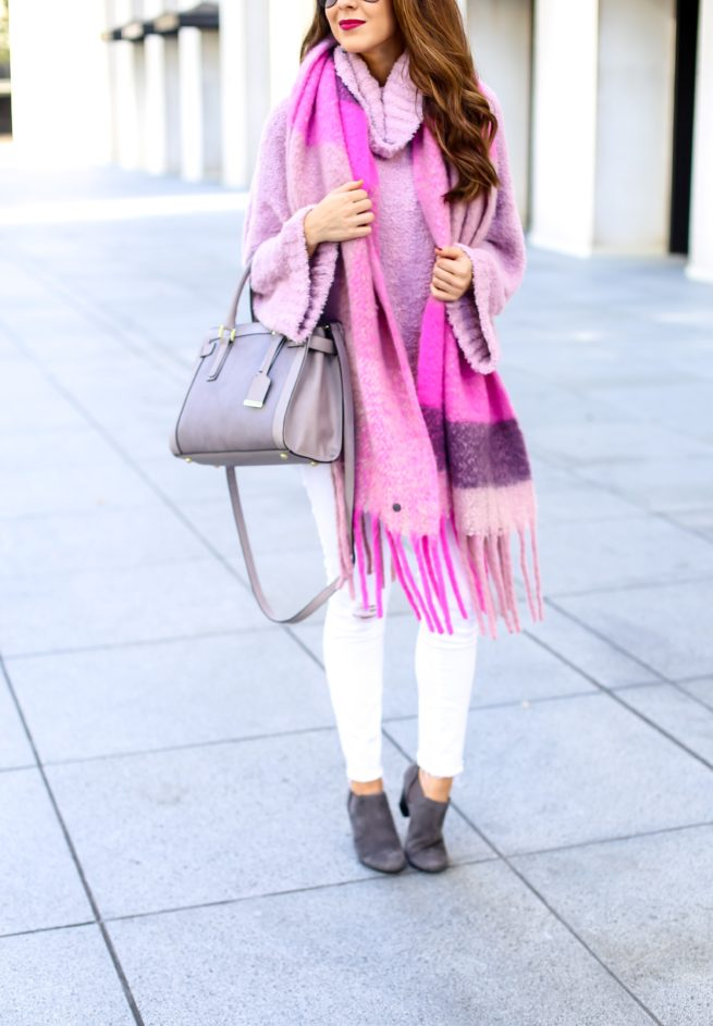 Pink Sweater and Pink Scarf for Fall and Winter and Spring
