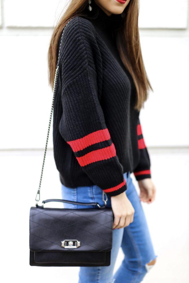 Black Stripe Sweater for Winter