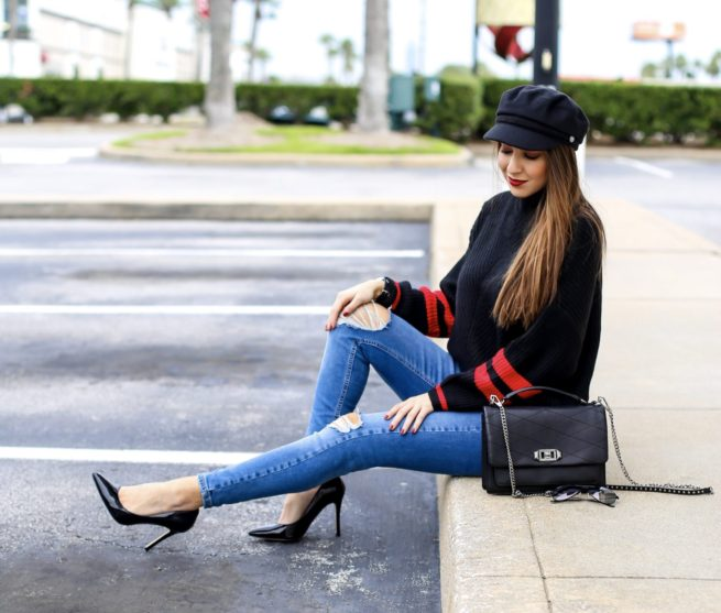 Black and Red Stripe Sweater for Winter