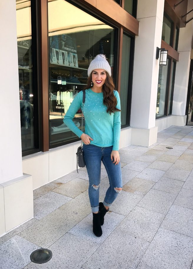 Blue Sweater with Pearl Embellishment