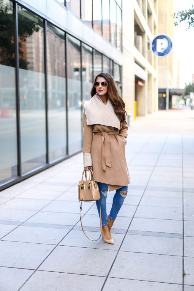 Camel Wrap Coat and Denim Style