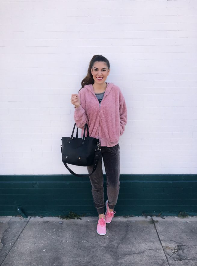 Cozy Pink Hoodie and Velour Joggers