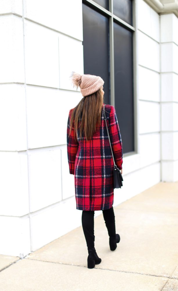 Crimson Plaid Coat for Winter Season
