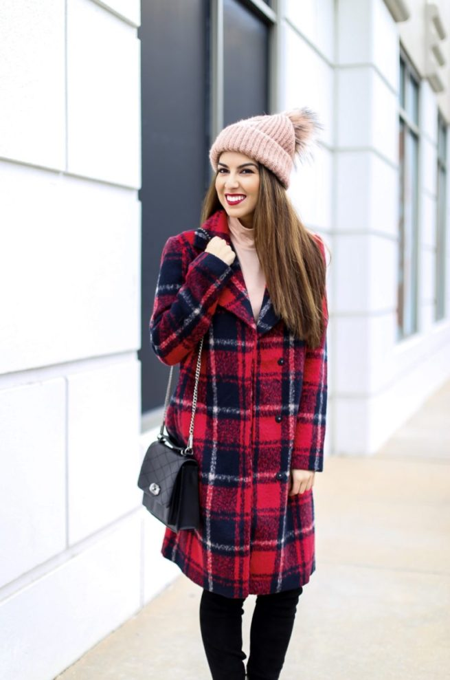 Crimson Plaid Coat for Winter.