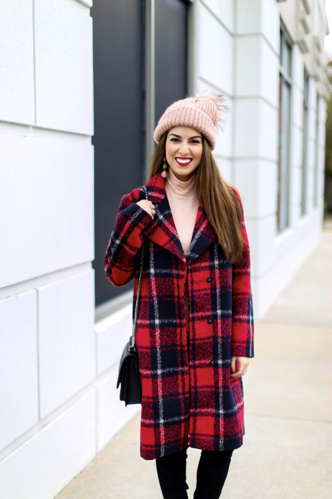 Crimson Plaid Coat