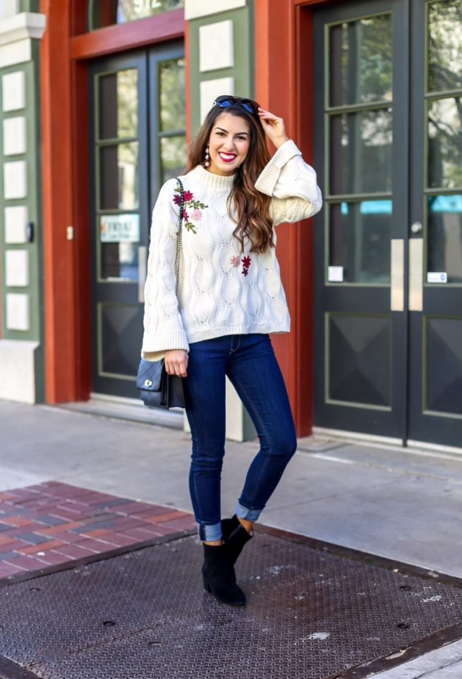 Embroidered Knit Sweater and Denim Style
