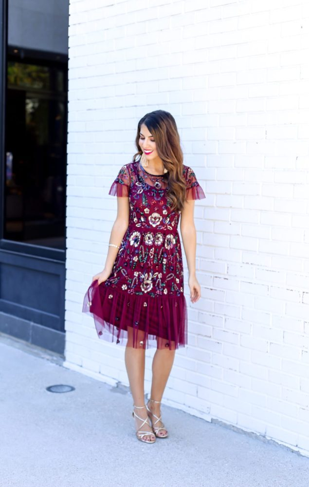 Floral Sequin Holiday Dress