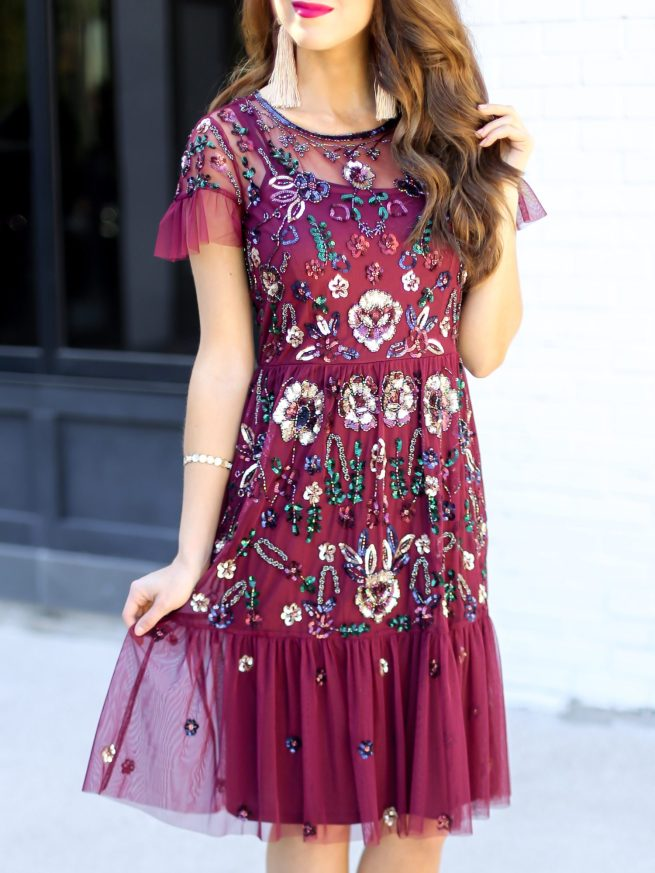 Gorgeous Floral Sequin Dress for the Holidays