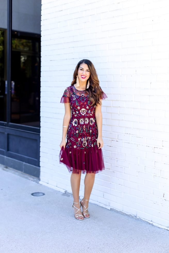 Holiday Floral Sequin Dress