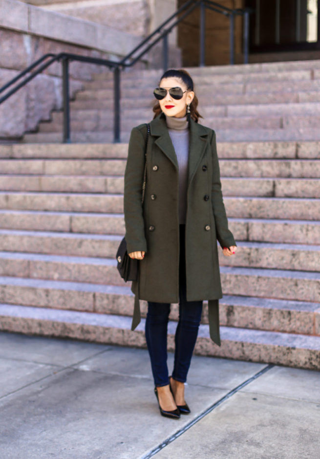 Olive Belted Trench Coat and Denim Style