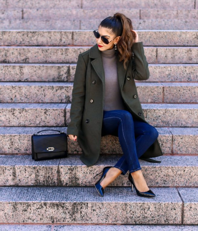 Olive Trench Coat for Winter