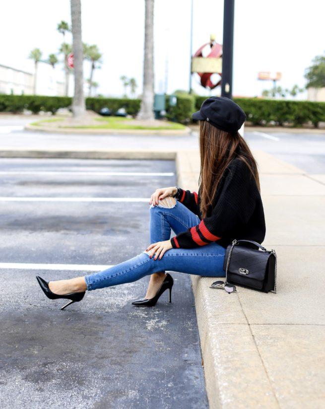Stripe Black Sweater and Denim Style