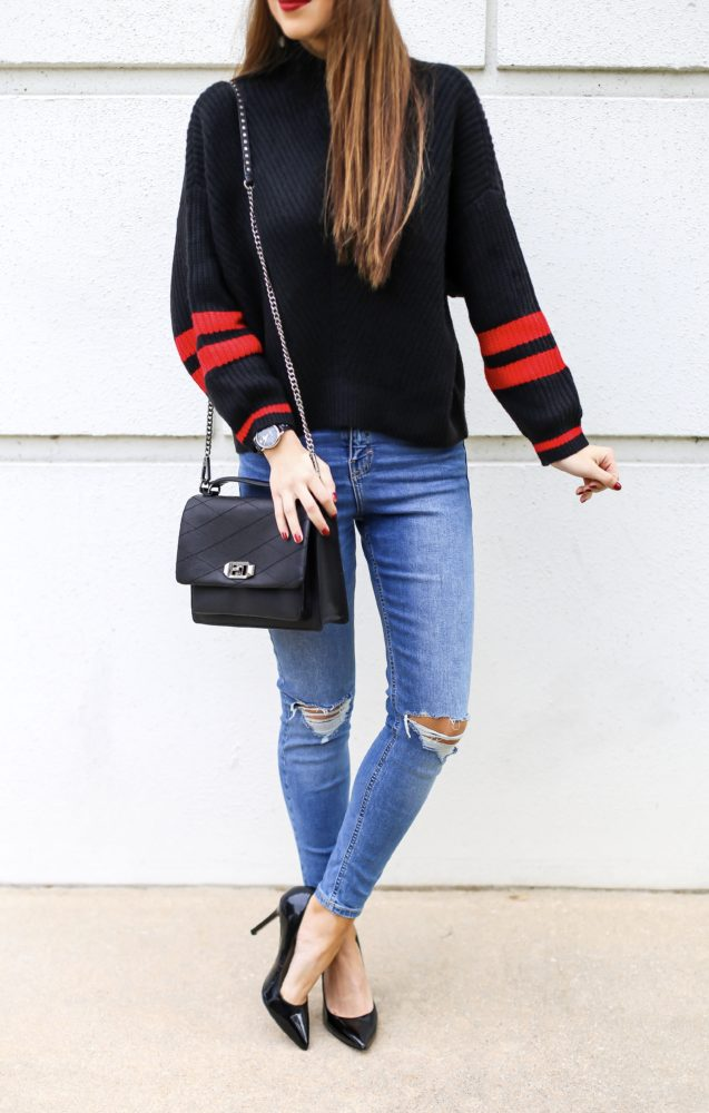 Stripe Sweater and Ripped Denim Jeans