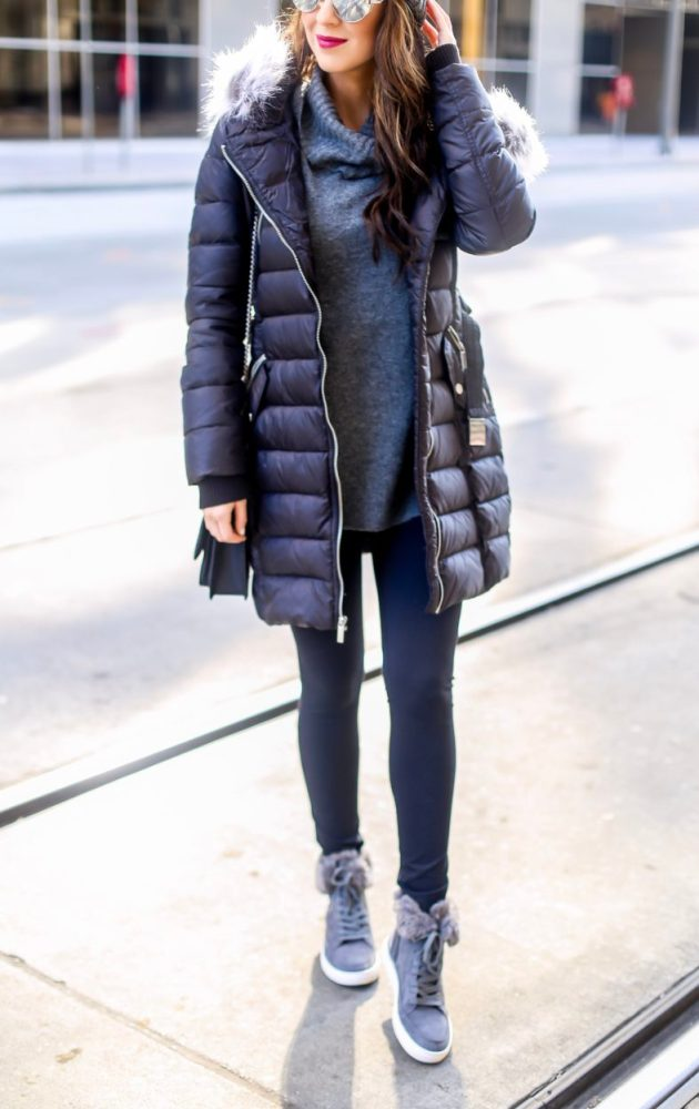 Puffer Coat and Grey Sweater