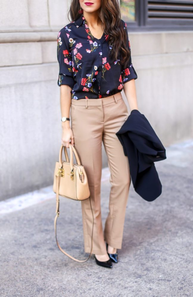 Floral Blouse for Work and Dress Pants