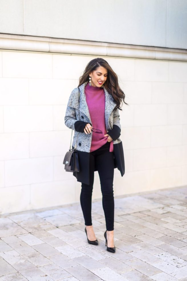 Classic Colorblock Peacoat and Sweater Style