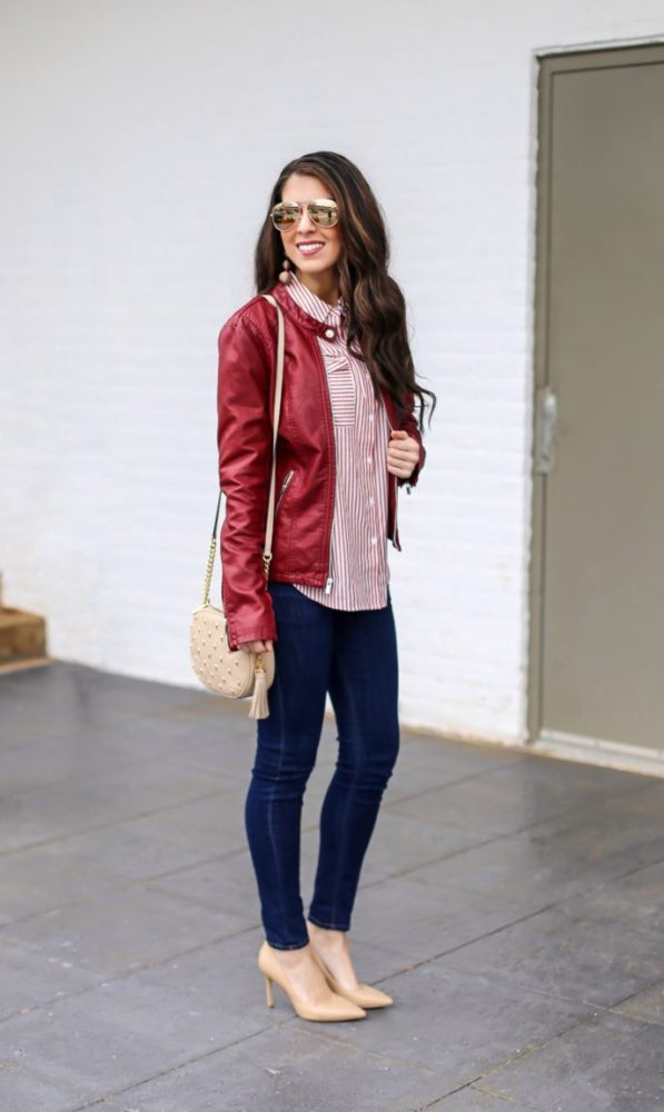 Classic Leather Jacket and Classic Stripe Shirt