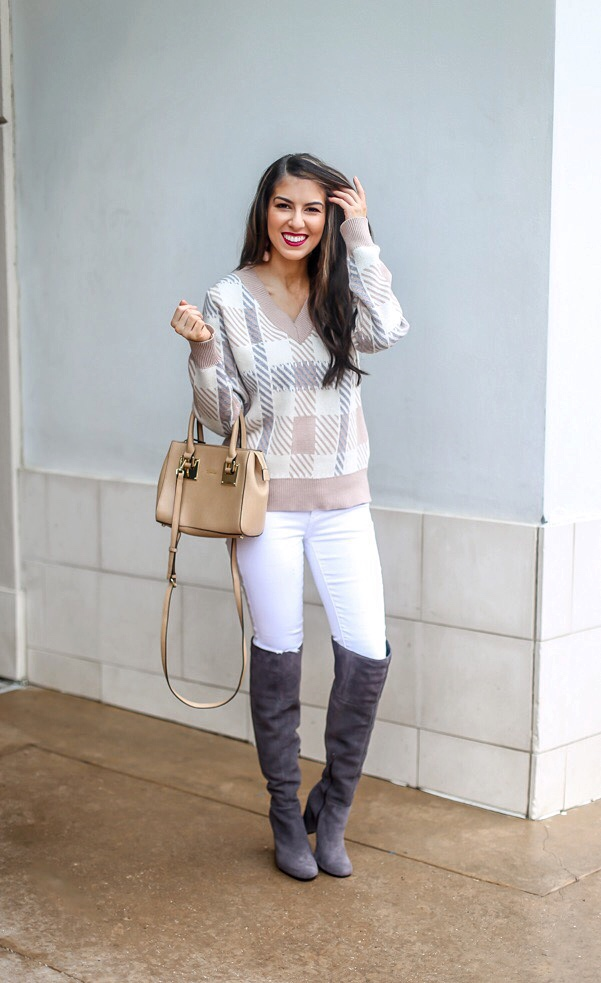 Taupe Plaid V Neck Sweater Style
