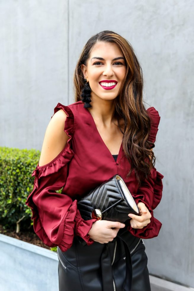 Beautiful Cold Shoulder Ruffle Blouse