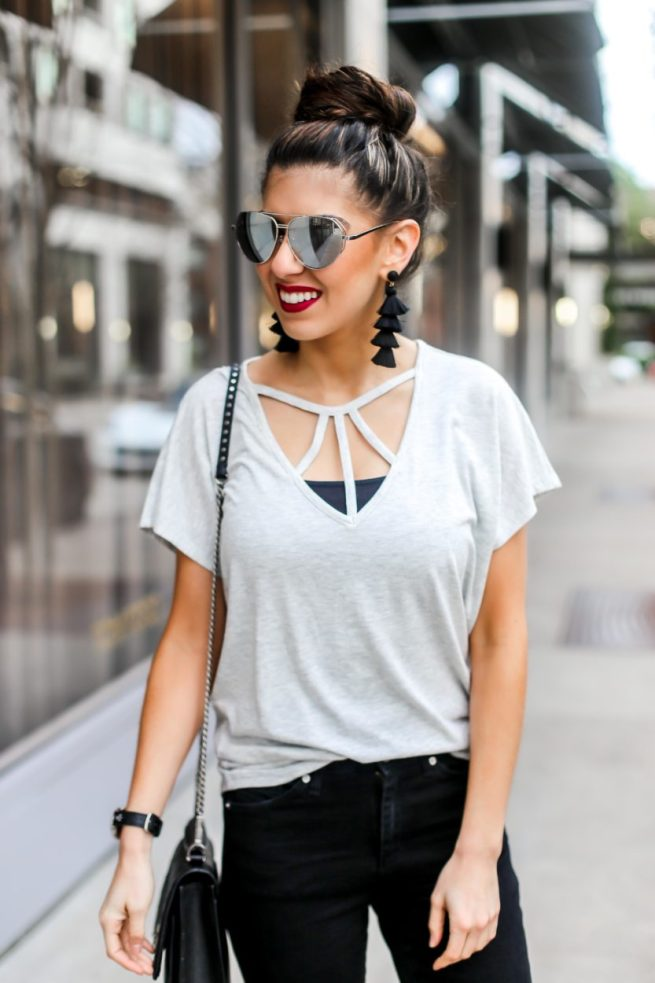 Best Grey Strappy Tee