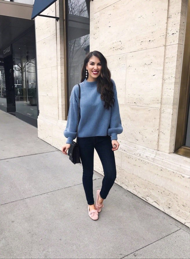 Dusty Blue Knit Sweater