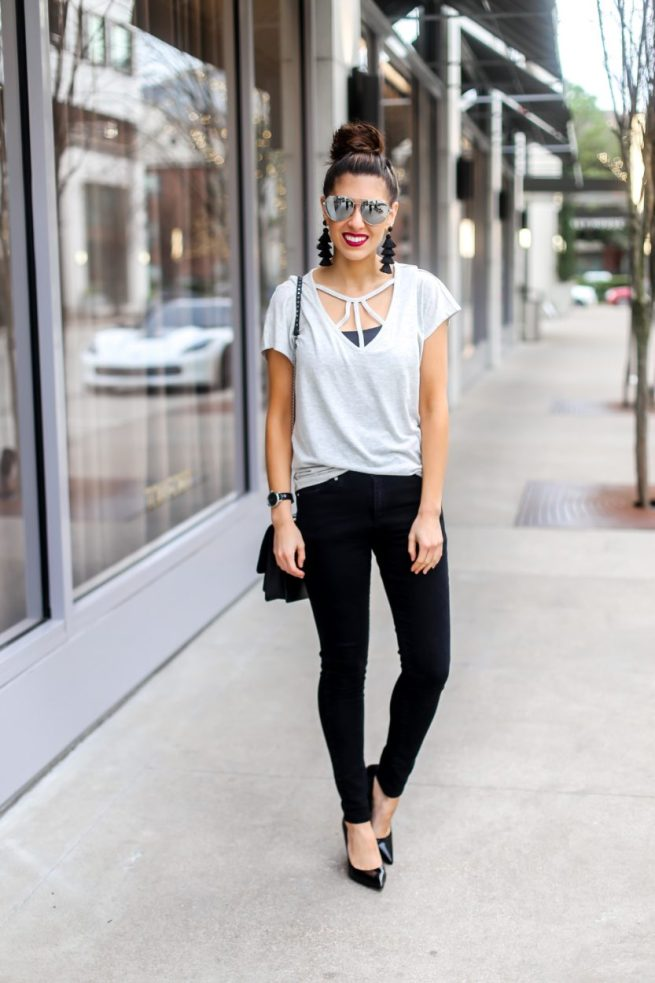 Grey Strappy Tee and Black Denim Jeans