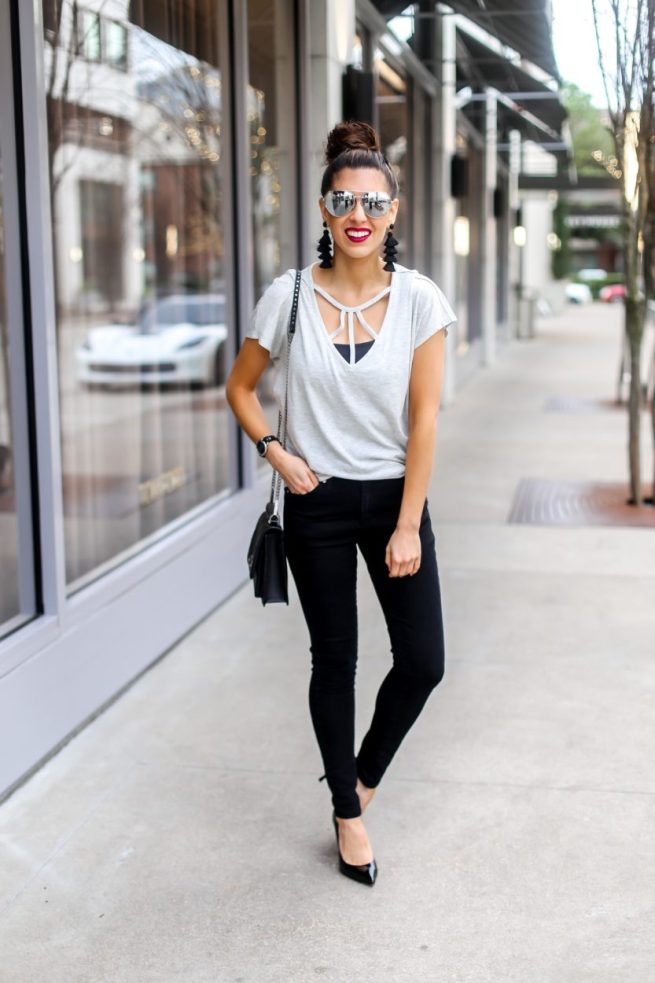 Grey Strappy Tee and Denim Style