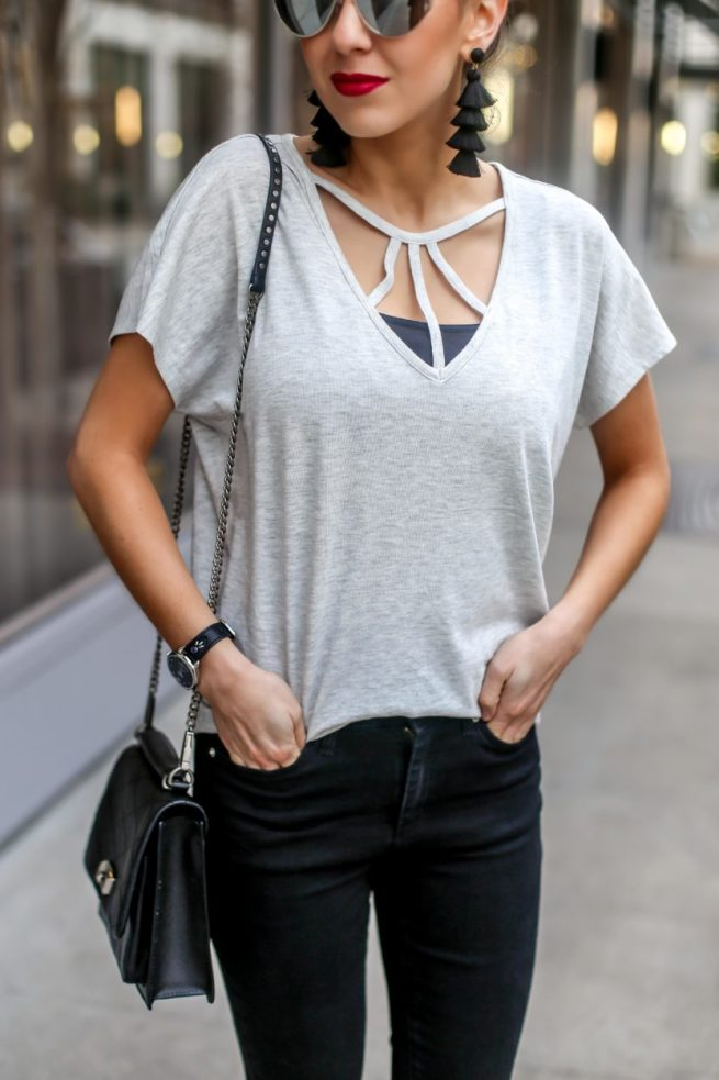 Grey Strappy Tee for Spring