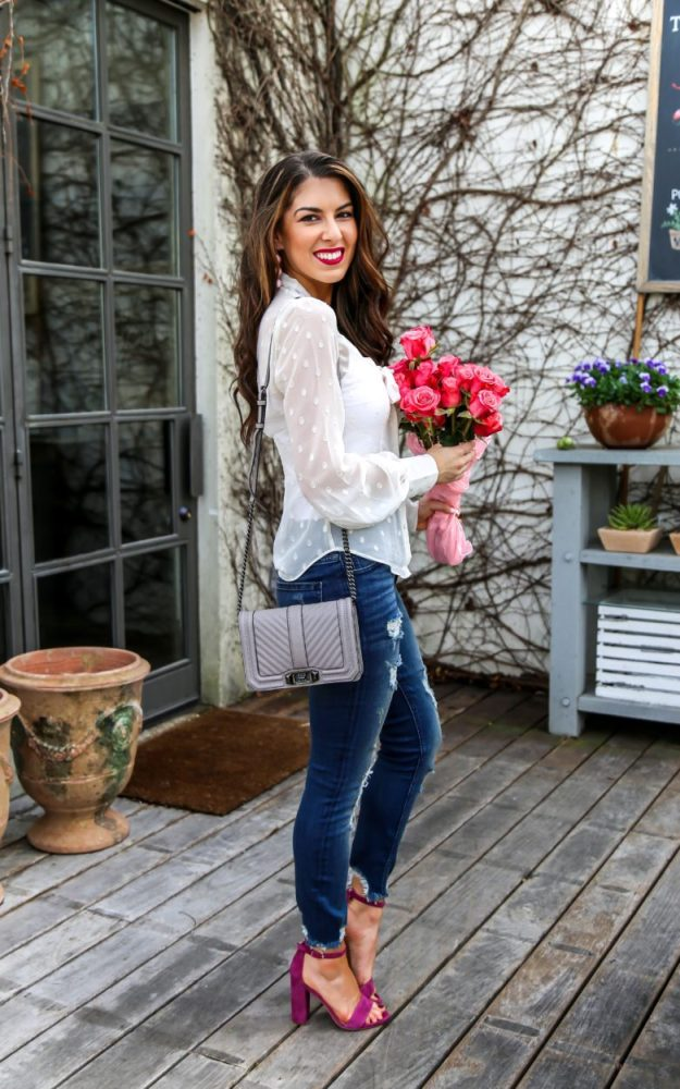 Ivory Tie Neck Blouse and Denim Style