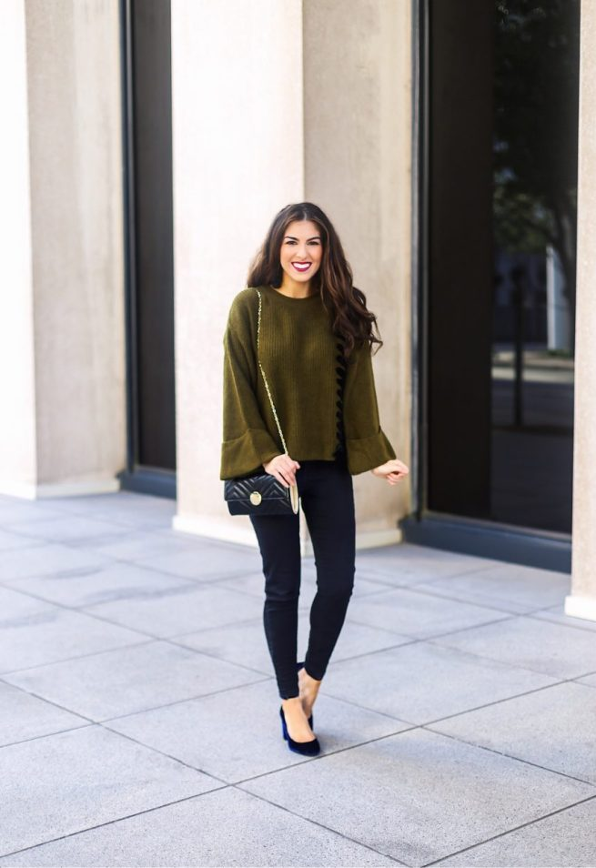 Olive Sweater with Tie Details