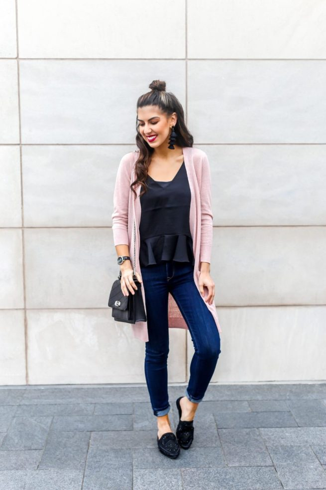 Pink Cardigan and Ruffle Hem Cami for Spring
