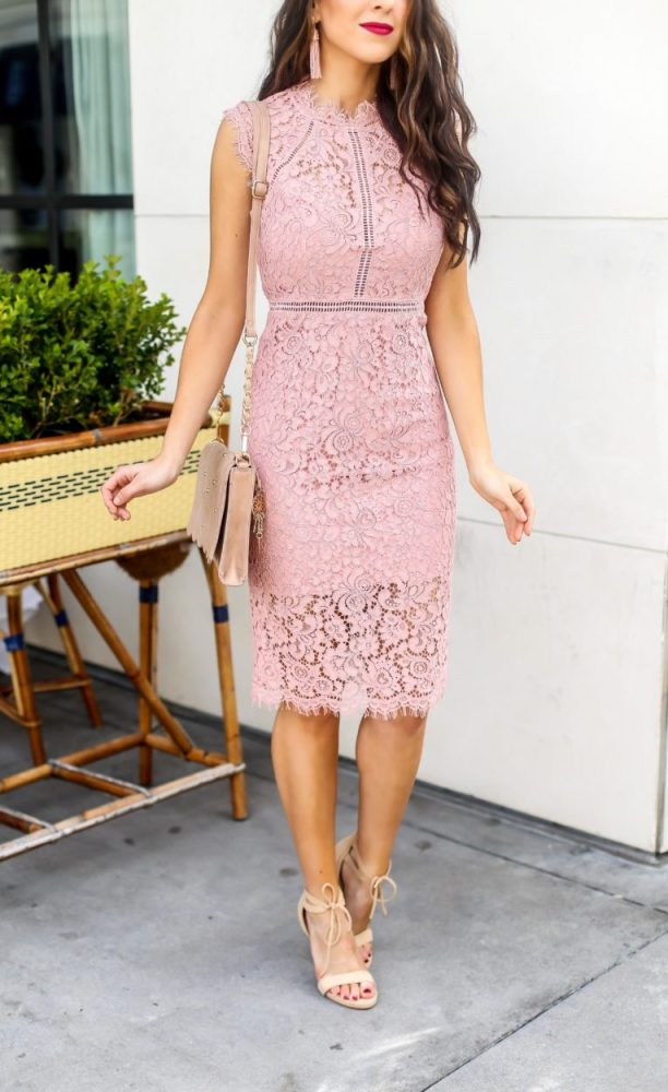 Pink Lace Sheath Dress for Spring or Wedding Season
