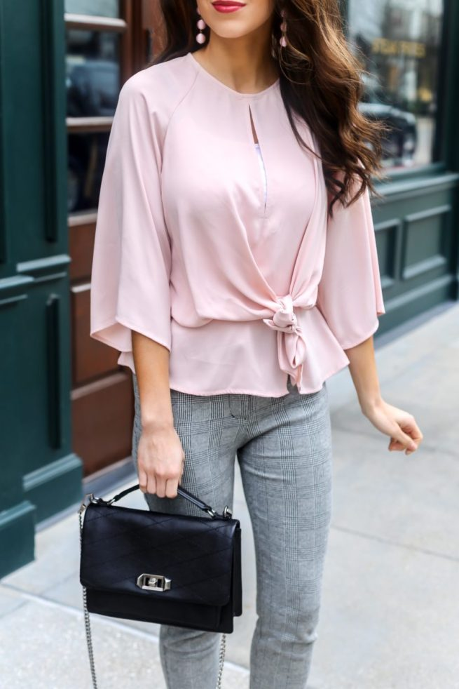 Pink Slouchy Knot Front Blouse