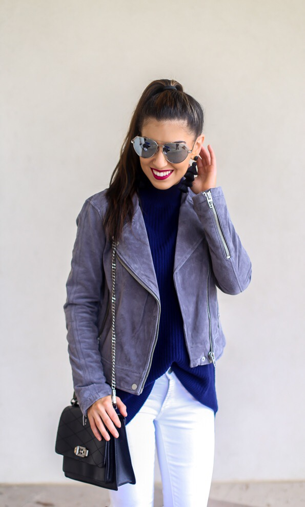 Silver Suede Jacket and Layered Details