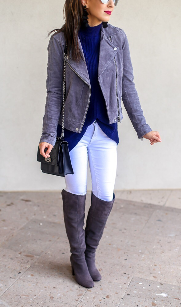 Silver Suede Jacket and White Demin Jeans