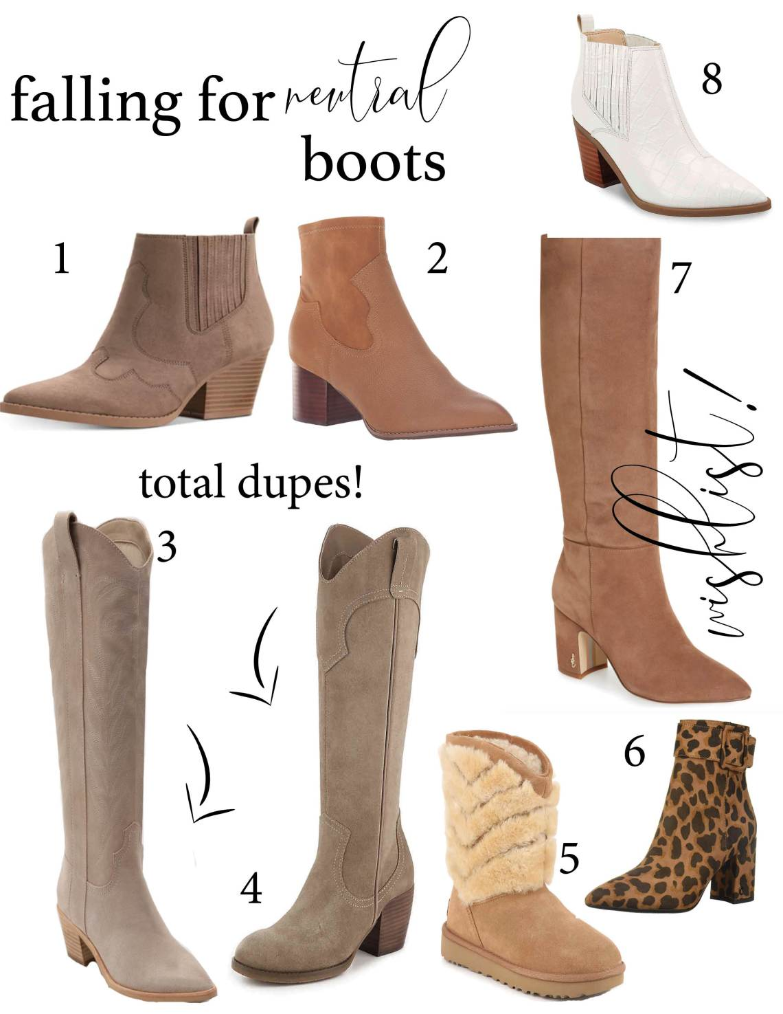 Graphic of eight boots for fall 2019
