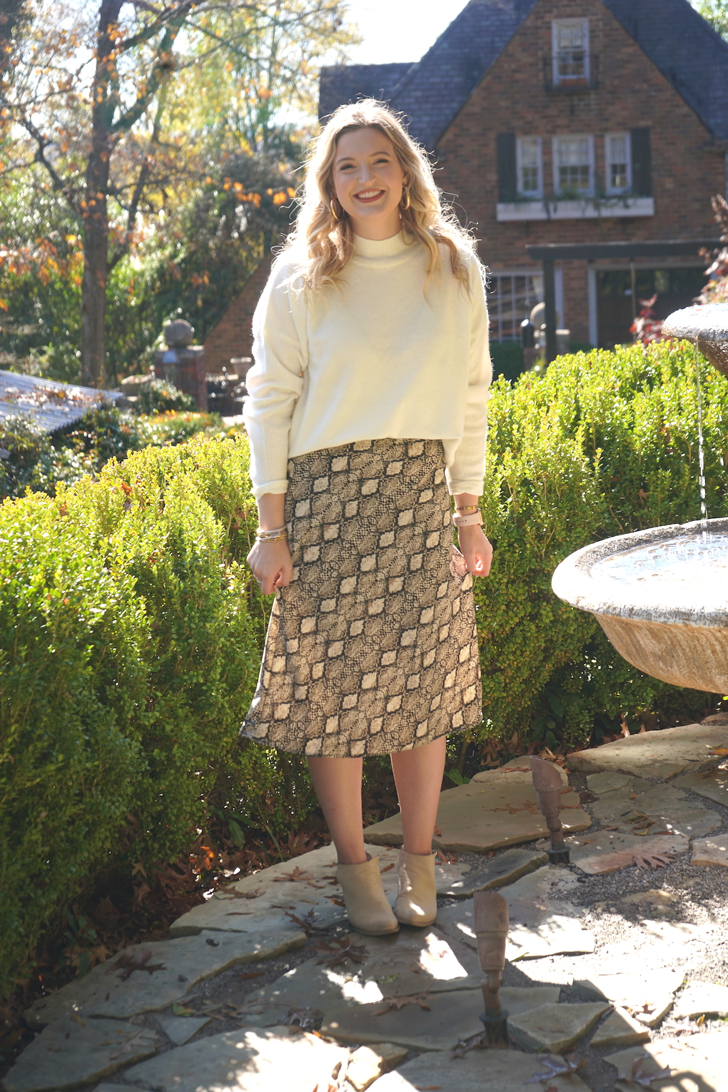Midi skirt and sweater outfit