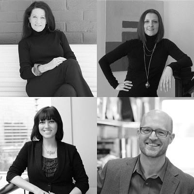 (Top) Jo Rabaut, ASID, IIDA and Andrea H. Bishop, ASID, LEED AP teamed up with Southface staff Shane Totten, AIA, IIDA, LEED AP BD+C; Bonnie Casamassima, LEED GA for this exciting project