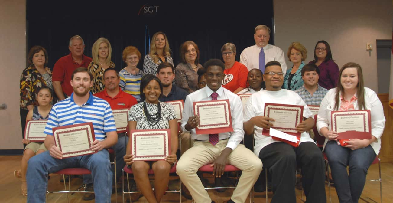 Pictured on the first row from left to right are Student of Excellence nominees Russell C. Wright,  Mykaula Harvey, Christian Powell, Dontavious Harrell, and Halie Fennell. On the second row from left to right are nominees Nichelle Martinez, Troy Gilliam, Christopher M. McGee, Alliyah Sutton, Felicia Young, and Clay Oxford (not pictured is nominee Kevin Davis). Standing from left to right are nominating instructors Vicki Gilbert, Mike Enfinger, Teresa Jolly, Sara Benson, Lisa Penton, Cathy Freeman, Brenda Butler-Gilliam, Randy Greene, Karen Bloodworth, and Nicole Murillo.
