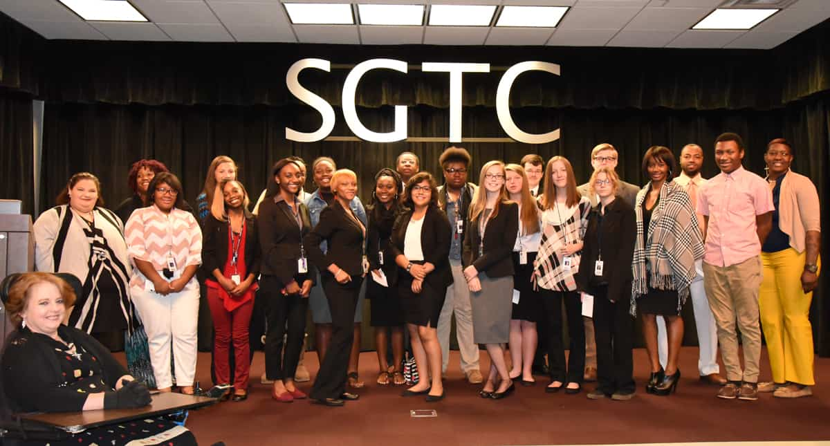The Webster County FBLA group is shown with SGTC PBL officers during the Free Enterprise Day program at South Georgia Tech.