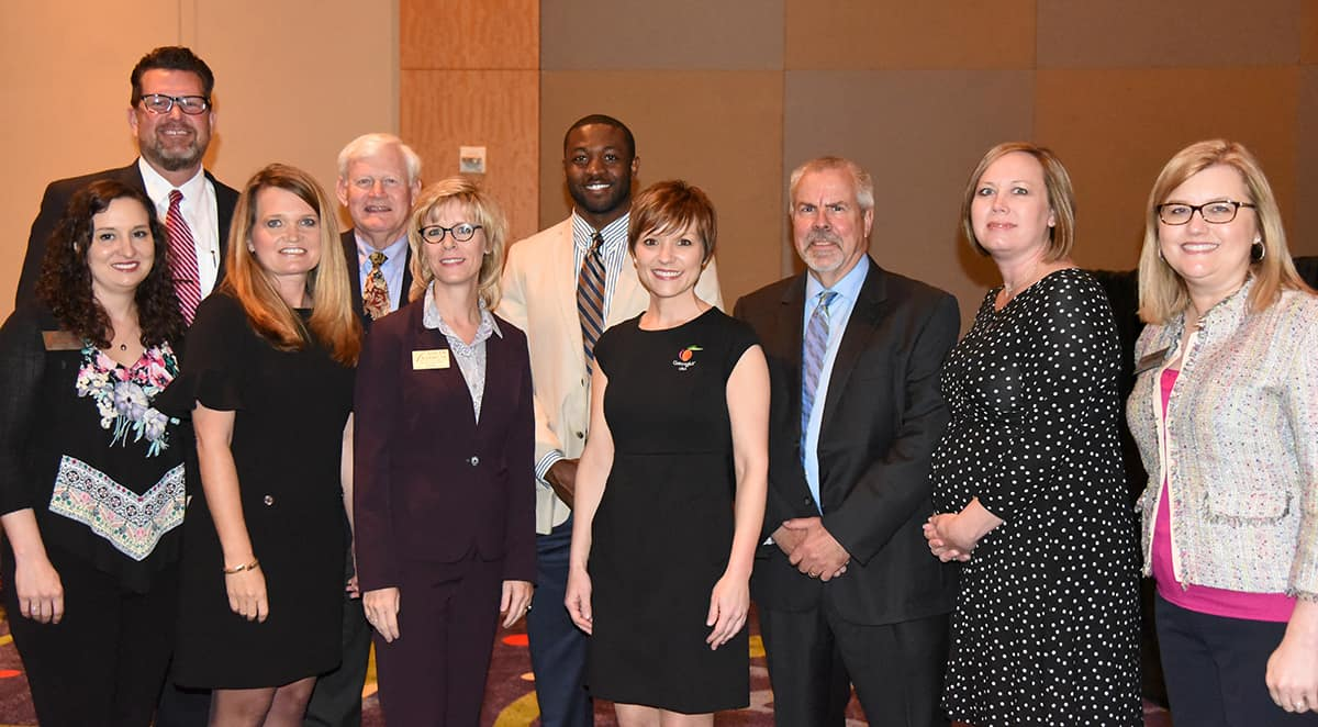 Shown (l to r) are South Georgia Technical College President Dr. John Watford, SGTC webmaster Valerie Hines, Crisp County IDC's Christy Bozeman and Board member Dickie Dowdy, SGTC's Dean of Enrollment Management at the Crisp County Center Julie Partain, Goldens' Foundry's Marcus Payne, GDED's Anna Hurt, Goldens' Foundry's Bill Vanness, GDCA's Casey Beane, and SGTC's Director of Business and Industry on the Crisp County Center campus Michelle McGowan.  Not shown is Goldens Foundry's George Boyd, Sr.